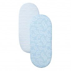 SHNUGGLE TWIN PACK FITTED MOSES SHEETS BLUE*