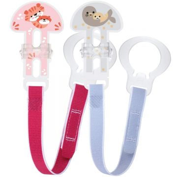 MAM 2 Clips Soother Holder Girls Colours