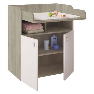 Kudl Kids Changing Board Cupboard with Storage 1270 - Elm/White