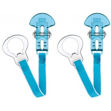 MAM 2 Clips Soother Holder Clear Blue