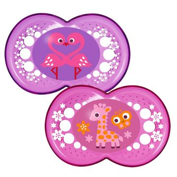 MAM Crystal Soother 2 Pack 6 months + Girls Colours