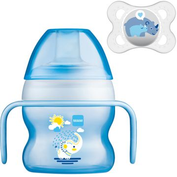 MAM Starter Cup 150ml with Handles and Soother 4+ mths Boys Colours