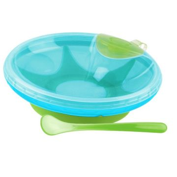 Nuby Warming Bowl and Spoon Blue